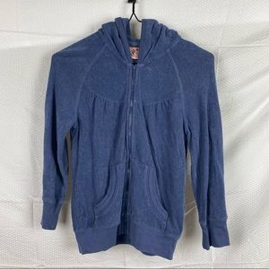Juicy Couture Vintage Purplish Blue Long Sleeve Hooded Front Zip Jumper Size S